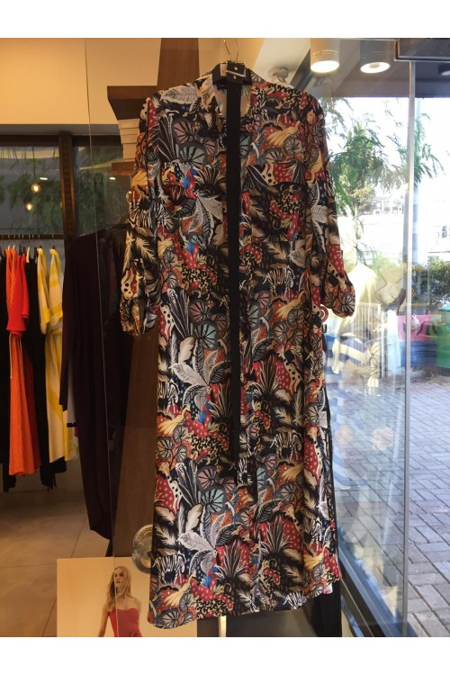 19K2248 Bize Fashion Elbise Kemerli Desenli