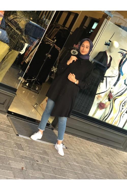19K294 Bize Fashion Gömlek Tunik Siyah