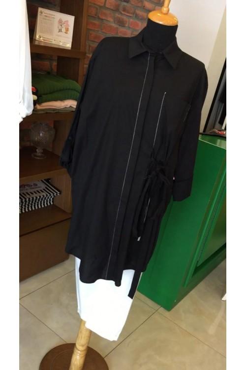 19Y140 Bize Fashion Uzun Cepli Gömlek Siyah