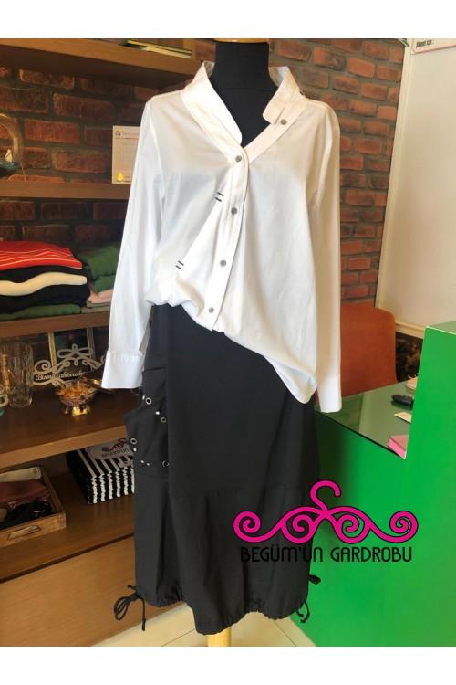 19Y144 Bize Fashion Pontrezli Gömlek Beyaz