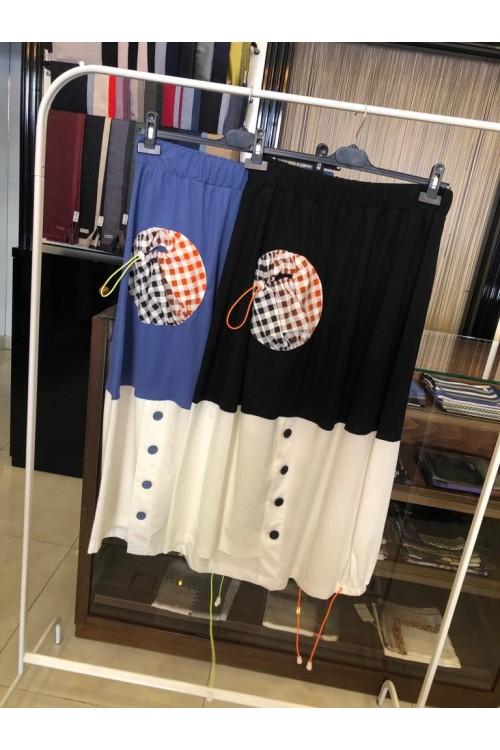 19Y5059 Bize Fashion Ekose Cepli Etek İndigo