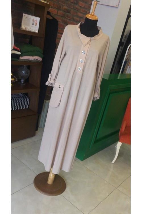19YZ2148 Bize Fashion Kuş Gözlü Elbise Bej