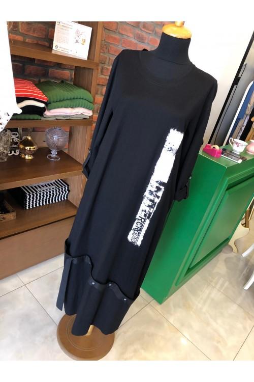 19YZ2213 Bize Fashion Round Baskı Elbise Siyah