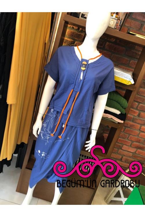 19YZ5098 Bize Fashion Baskılı Şalvar İndigo
