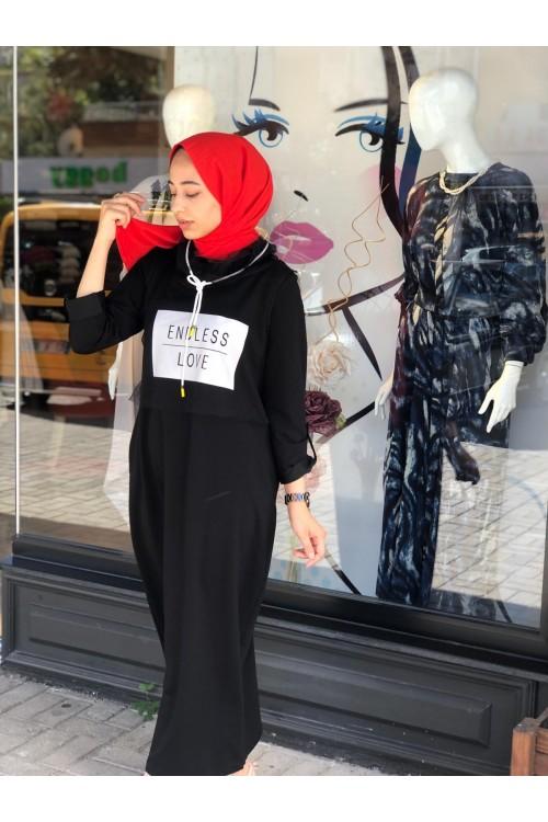 19K2184 Bize Fashion Love Tüllü Takım Elbise Siyah