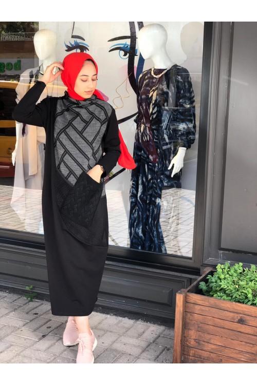 203-2459 Bize Fashion Deri Baskılı Cepli Elbise Siyah