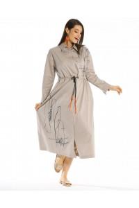 20YZ2290 Bize Fashion Baskılı Bağcıklı Elbise Açık Gri