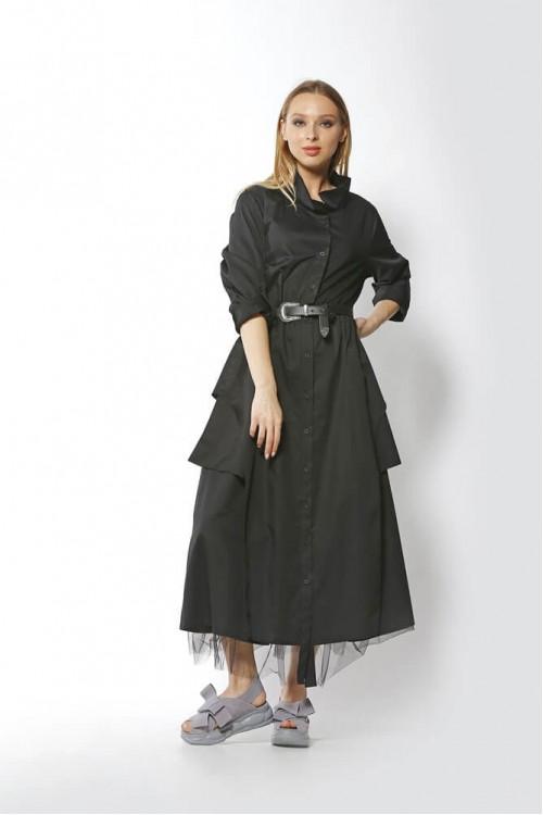 20YZ2402 Bize Fashion Tüllü Elbise Siyah