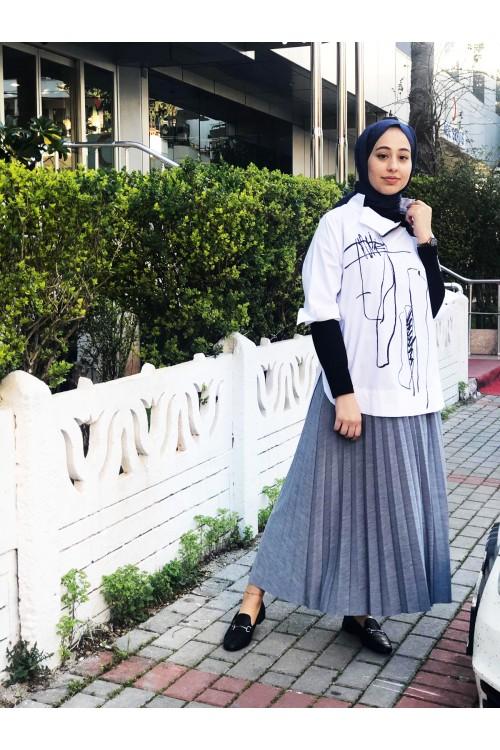 20YZ370 Bize Fashion Yaka Fermuar Gömlek Beyaz Siyah