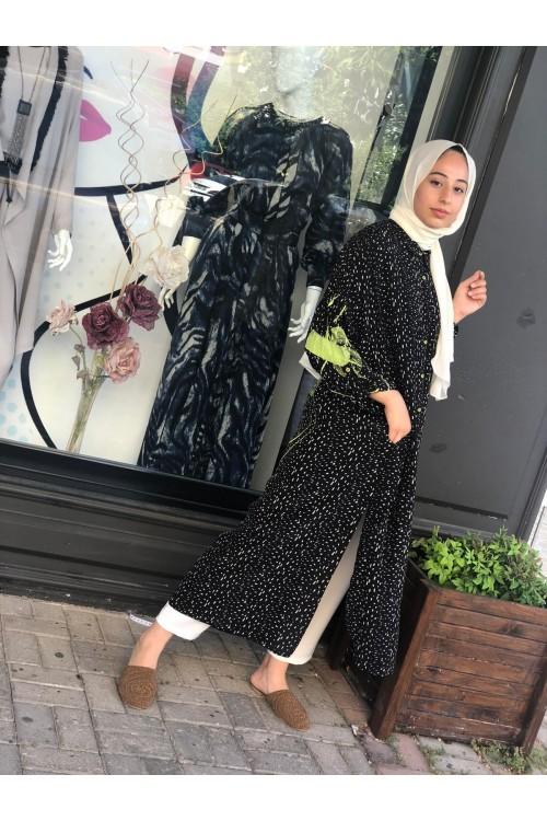 20YZ390 Bize Fashion Baskılı Puantiyeli Uzun Gömlek Siyah