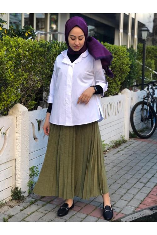 20YZ391 Bize Fashion Patlı Gömlek Beyaz