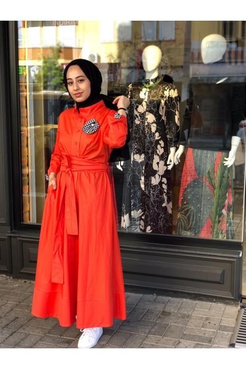 2112504 Bİze Fashion Bağcıklı Güllü Elbise Mercan