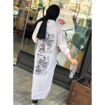 2112510 Bize Fashion Baskılı Kupra Elbise Gri