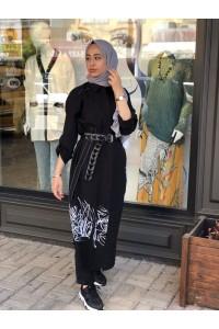2112510 Bize Fashion Baskılı Kupra Elbise Siyah