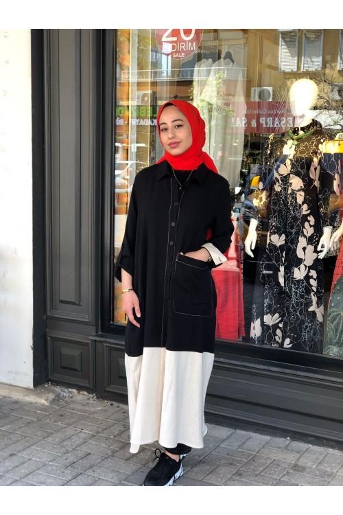 2112516 Bize Fashion İki Renkli Elbise Kap Siyah Bej