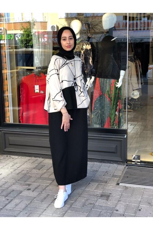 2112520 Bize Fashion Keten Baskılı Takım Elbise Siyah Bej