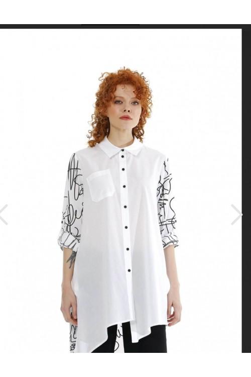 211516 Bize Fashion Baskılı Gömlek Siyah Beyaz