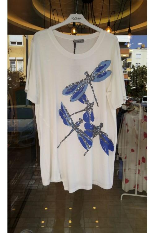 8550 Lal Penye Bluz Beyaz Yusufçuk Desenli