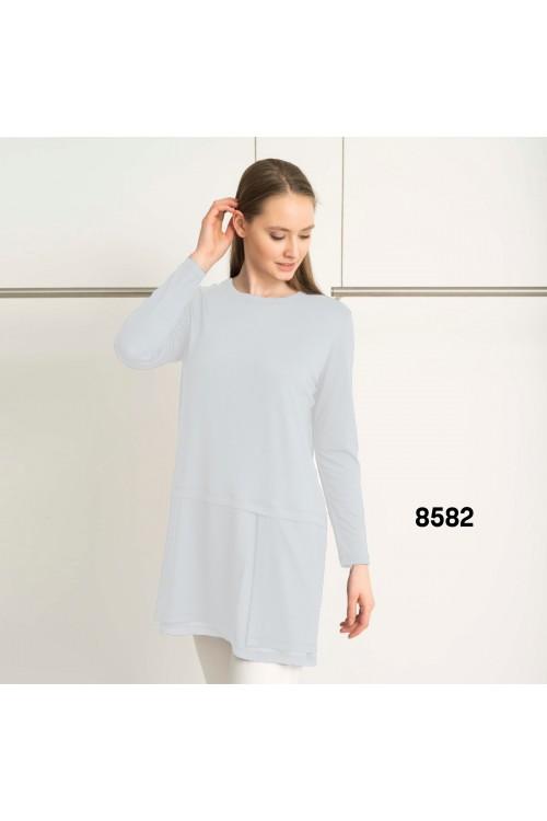 8582 Lal Penye Bluz Beyaz