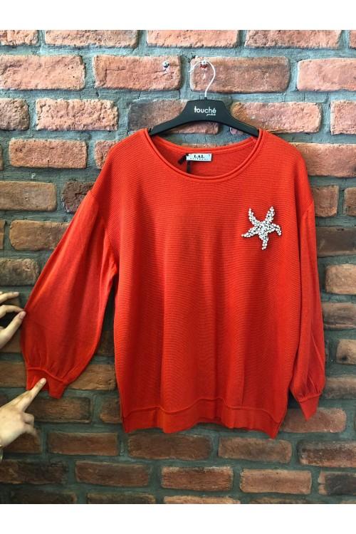 1104 Lal Triko Kırmızı Yıldız Taş Detay