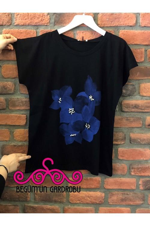 1590 Lal Triko Kısa Kollu Taş Detaylı Çiçekli Penye Bluz Siyah