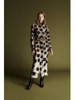 AW1920008 Latifa Roxet Düğmeli Elbise Olive-Siyah