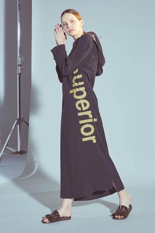 SS19008 Latifa Superior Casual Elbise Siyah Kapüşonlu