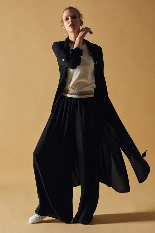 YS18026 Latifa Uzun Tunik Amir Kap Ceket Pardesü Siyah