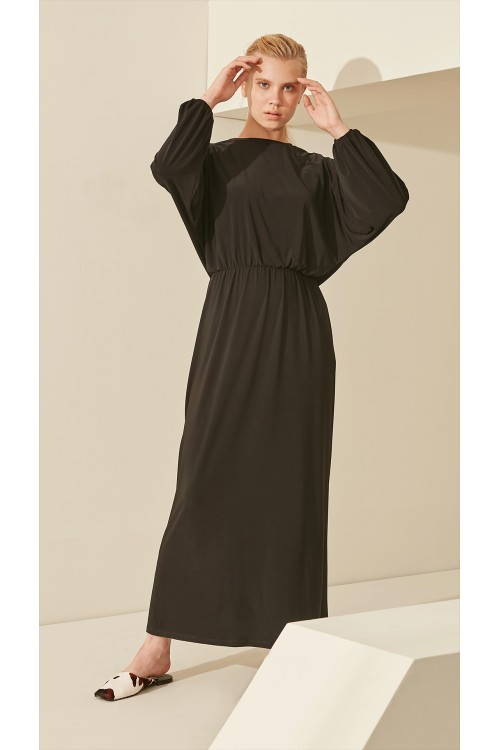 Miori Flora Beli Büzgü Elbise Siyah