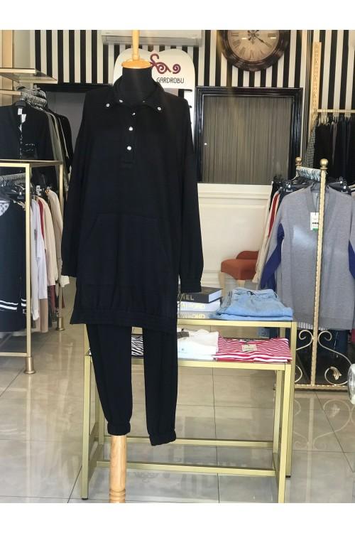 21YP14T3167 Missemramiss Kapüşonlu Cep Detaylı Pamuklu Takım Tunik Siyah