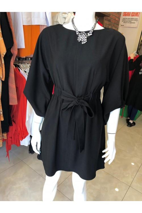 2836 Nocturne Beli Büzgülü Elbise Siyah
