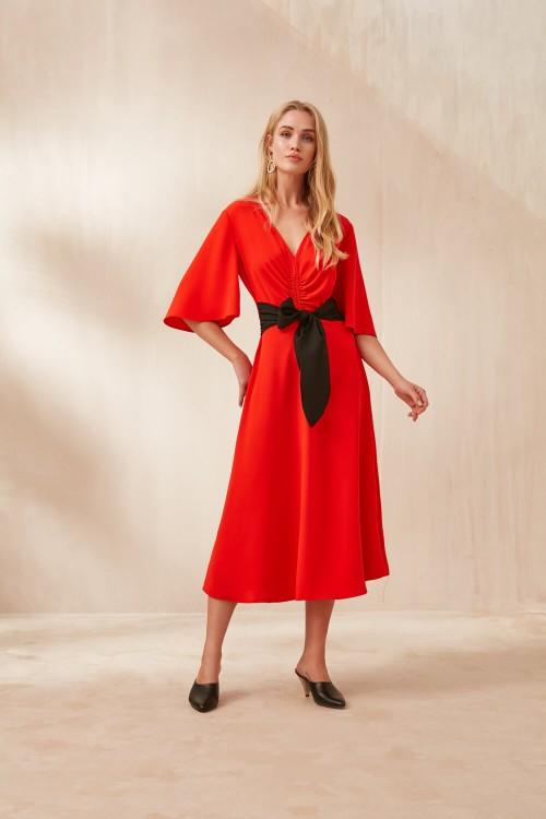 2914 Nocturne Büzgülü Midi Boy Elbise Kırmızı