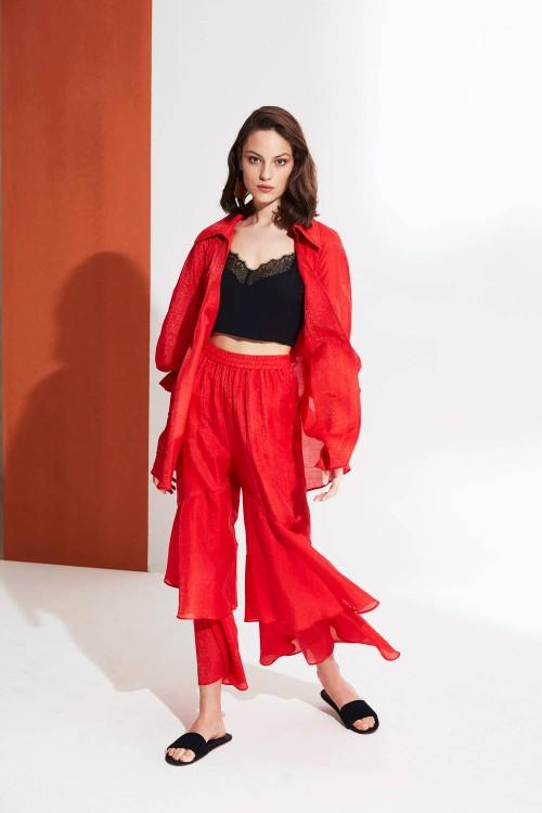 3905 Nocturne Volanlı Pantolon Kırmızı