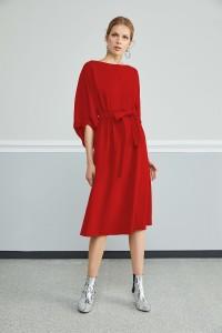 2836 Nocturne Beli Büzgülü Elbise Kırmızı