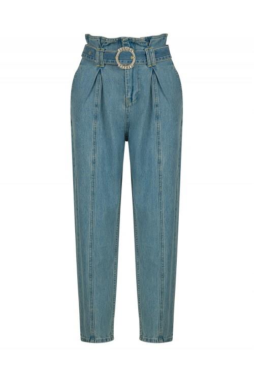 18201 Nocturne Kristal Taş Kemerli Jean Pantolon Buz Mavi
