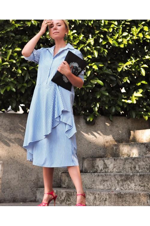 40137 Noi Cotton Yandan Volanlı Yakalı Tunik Mavi Beyaz