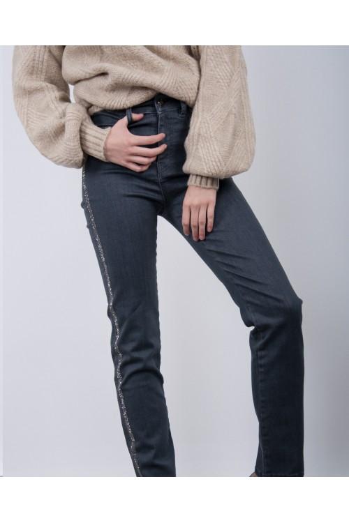 40618 Noi Jean Yani Pul Şeri̇t Yüksel Bel Pantolon Antrasit