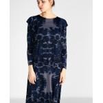 39202 Noi Batik Desen Omuzları Fırfır Elbise İndigo