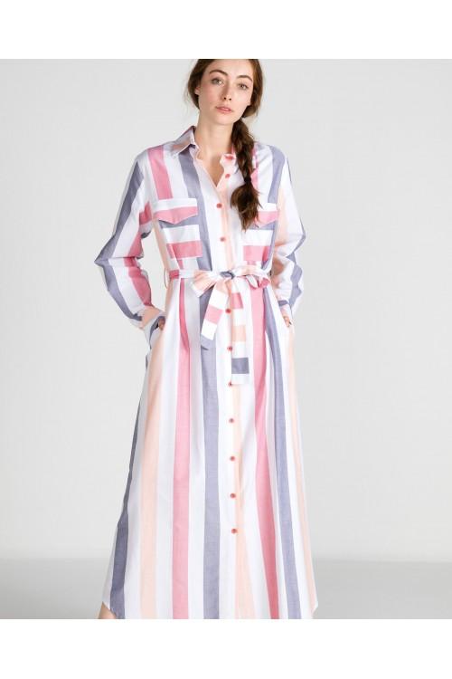 39207 Noi Çizgili Önden Düğmeli Cepli Gömlek Elbise Pembe