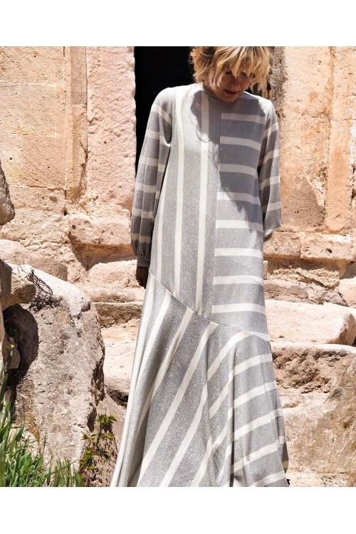 39224 Noi Simli Çizgili Etek Ucu Verev Kolları Manşet Elbise Gri