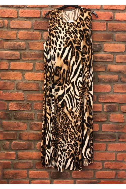 39231 Noi Leopar O Yaka Kolsuz Elbise Siyah Kahverengi