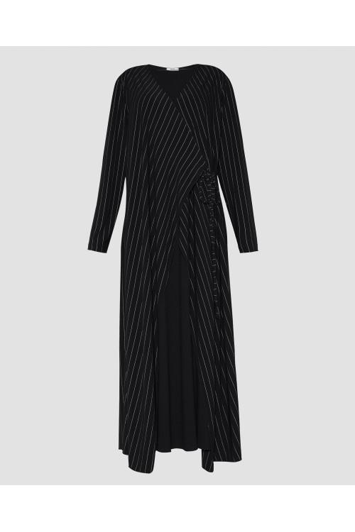 39232 Noi Triko Krep Jarse Üstü Çizgili Ceketli Elbise Siyah
