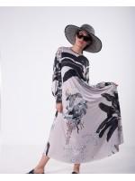 39235 Noi Ortanca Desen Baskı A Form Uzun Kol Elbise Bej