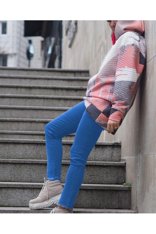 39612 Noi Jean Yüksek Bel Paçası Püsküllü Pantolon Mavi