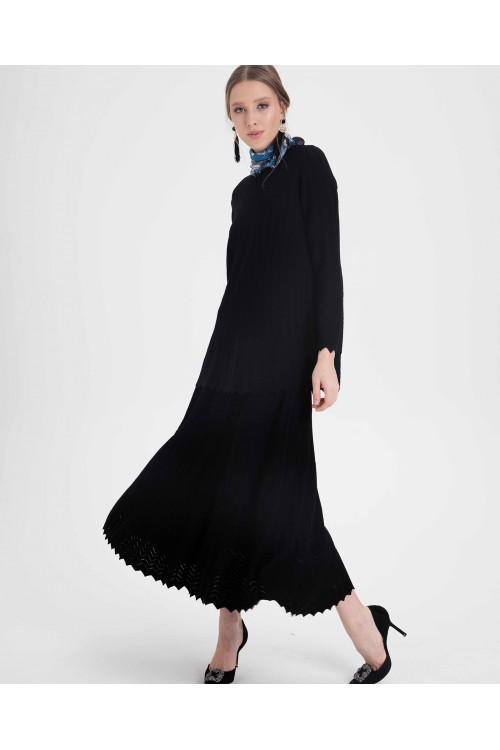 39701 Noi Rayon Jakarlı Etek Siyah