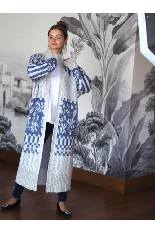 41700 Noi Dama Desen Uzun Tri̇ko Hirka Gri Mavi