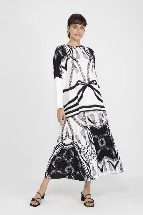 31410 Noi Püskül Zi̇nci̇r Baski Pli̇soley Etek Siyah Beyaz Desenli