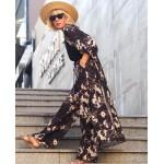 49302 Noi Johanna Dallı Çiçek Baskı Yanları Yırtmaç Krep Buble Ceket Siyah