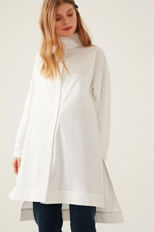 9Y1T139 Touche Prive Dik Yaka Yırtmaçlı Gömlek Beyaz