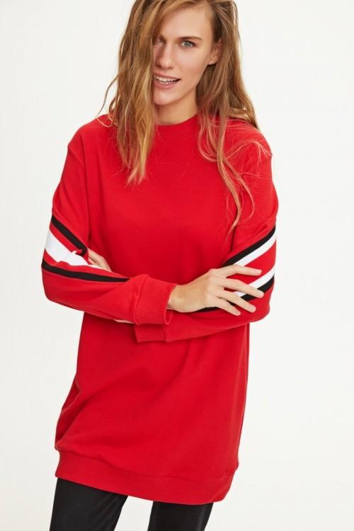 8K1T132 Touche Prive Ribanalı Sweatshirt Kırmızı